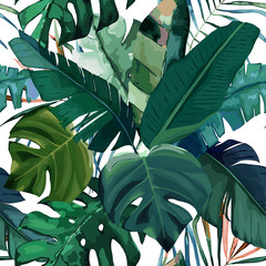 Jungle exotic seamless pattern, green tropical leaves, summer vector illustration on white background. Watercolor style