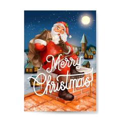 Hand drawn Santa Claus Merry Christmas greeting card