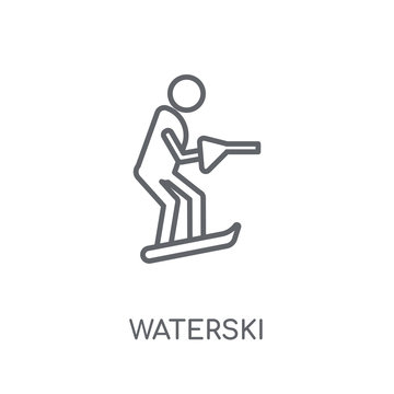 waterski linear icon. Modern outline waterski logo concept on white background from Summer collection