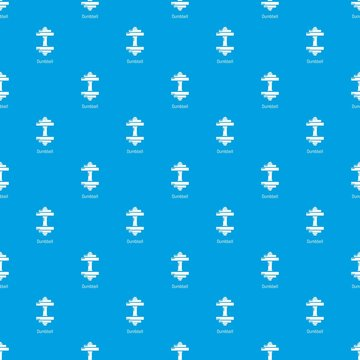 Dumbbell pattern vector seamless blue repeat for any use
