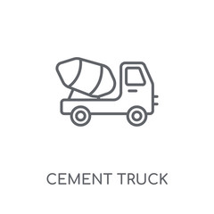 Cement truck linear icon. Modern outline Cement truck logo concept on white background from Transportation collection