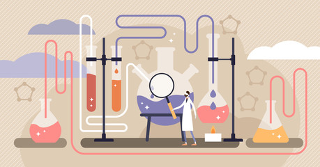 Chemistry vector illustration. Flat mini science research persons concept.