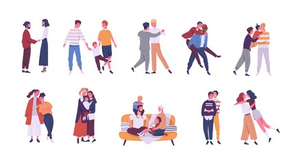 Collection of LGBT or queer couples and families with children. Bundle of male, female and transgender romantic partners isolated on white background. Vector illustration in flat cartoon style.