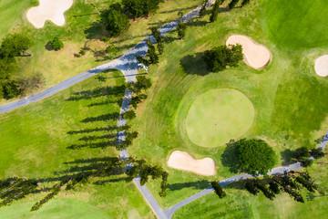 とても晴れた日のゴルフ場の航空写真