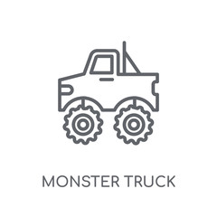 Monster truck linear icon. Modern outline Monster truck logo concept on white background from Transportation collection