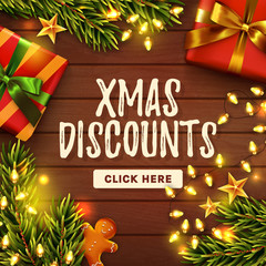 Christmas sale banner. Wooden decorated background. Vector.