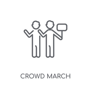 crowd March linear icon. Modern outline crowd March logo concept on white background from United States of America collection