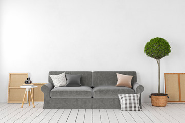 Empty white interior, blank wall with sofa, plant, tree, pillows. 3d render illustration mockup.