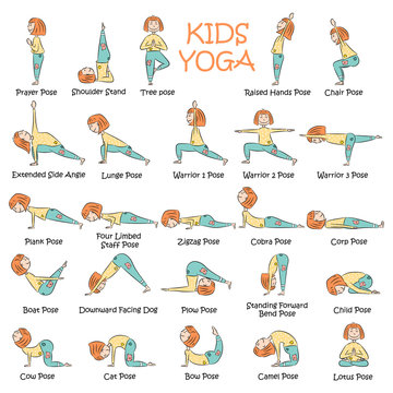 Kids yoga set with cute cartoon girl