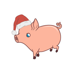 Cute piglet with a Santas hat on, walking