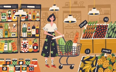 Cute young woman with shopping cart choosing and buying products at grocery store. Girl purchasing food at supermarket. Customer in retail shop. Colorful vector illustration in flat cartoon style.