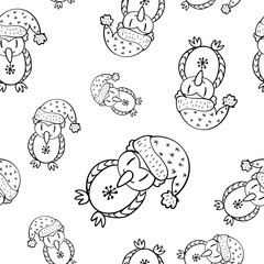 Seamless doodle owl pattern hand drawing in vector
