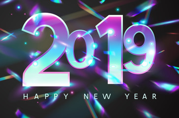 Wall Mural - 2019 New Year holographic falling confetti background. Rainbow iridescent holiday greeting card. Vector festive design with foil hologram tinsel, bokeh light effect and glare glitter.