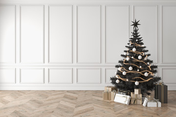 Black christmas tree in classic room, blank white wall, gifts. 3d render illustration mockup.