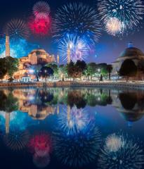 Beautiful fireworks above Hagia Sophia in Istanbul