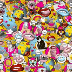 Social network symbols pattern in pop art style.