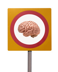 ROAD TRAFFIC WARNING SIGN WITH PICTURE OF HUMAN BRAIN