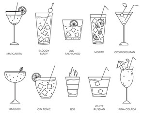 Set of different types of alcohol cocktails