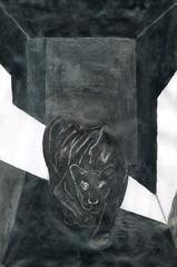 black Panther in a dark room, illustration