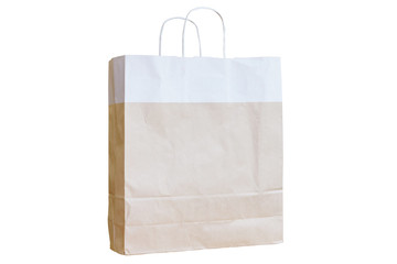 Brown recycle paper bag with white handles isolated on white background