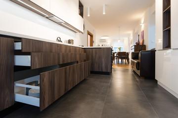 Fototapeta Cabinet drawer in contemporary kitchen interior obraz