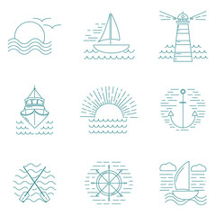 Set of graphic nautical logos or emblems in line style