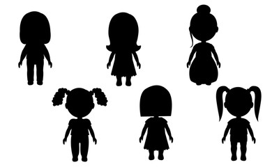 Isolated silhouettes of girls on a white background. Vector figures of people. stickers for walls and furniture. Dolls Children's toy. EPS 10
