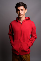 Young handsome Persian teenage boy against gray background