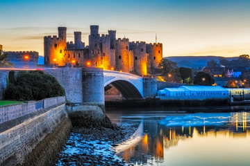 Wall Murals Northern Europe Conwy Castle in Wales, Uk.