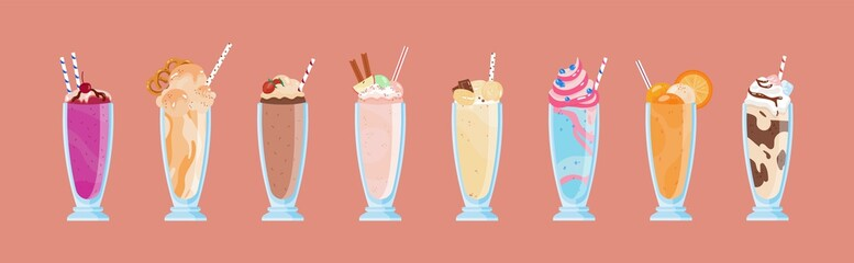 Collection of delicious milkshakes in glasses with straws. Bundle of sweet cold tasty beverages decorated with fruits, berries, whipped cream. Set of dessert drinks. Vector illustration in flat style.