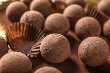 Tasty sweet chocolate truffles, closeup