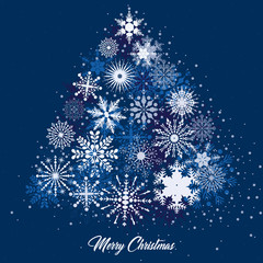 A vector illustration of a Christmas tree decorated with snowflakes in white and blue