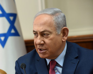 Israeli Prime Minister Benjamin Netanyahu chairs a meeting of the ministerial committee on violence against women, at the prime minister's office in Jerusalem