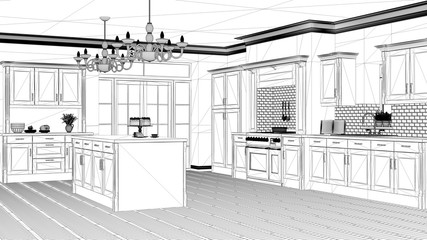 Interior design project, black and white ink sketch, architecture blueprint showing classic vintage luxury kitchen, island with big chandeliers and window, contemporary architecture