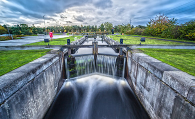 Long Exposure of a water lock Caledonian Canal Wall mural