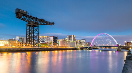 Clyde Arc and Glasgow Skyline at Night