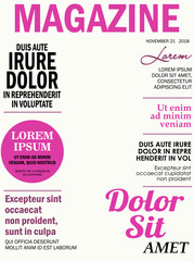 Realistic magazine front page template