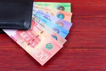 Nicaraguan money in the black wallet