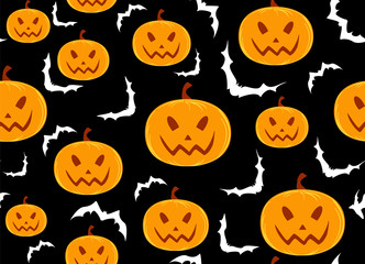 Happy Halloween vector seamless decorative background with hand drawn pumpkins and bats