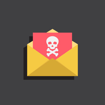 Envelopes and virus documents with skulls, illustration flat design style