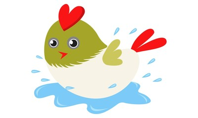 Vector cartoon illustration of cute bird jumping in water.  Isolated on white background.