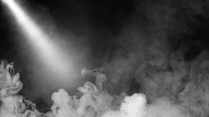 Dry ice smoke clouds fog floor texture. .White perfect sportlight mist effect on isolated black background