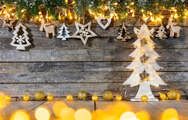 Christmas rustic background with wooden decoration