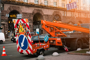Traffic Warning Trailer for Highways. Road Repair, Reconstruction