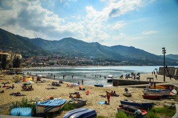 The beach in Cefalu, Sicily