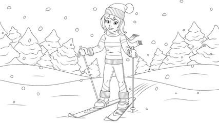 Young girl skiing.