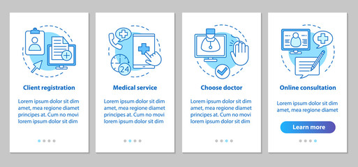 Medical service onboarding mobile app page screen with linear co