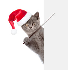 cat in red christmas hat holding a pointing stick and points on empty banner. isolated on white background