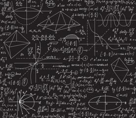 Math vector seamless pattern with handwritten algebra formulas. Chalkboard drawings effect. You can use any color of background