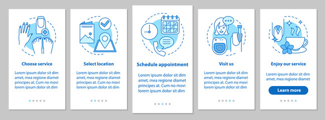 Nail salon onboarding mobile app page screen with linear concept
